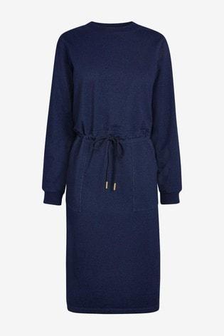 Navy Drawstring Jersey Denim Midi Dress