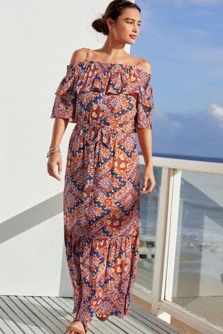 Scarf Print Off Shoulder Maxi Dress