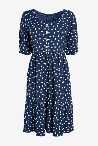 Navy Spot Button Front Scoop Neck Dress