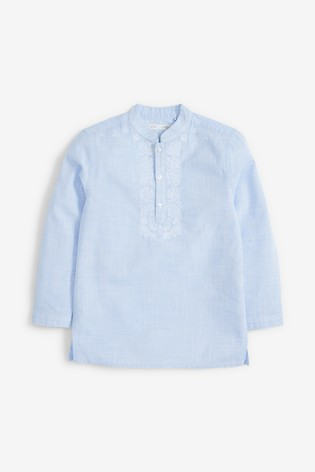 Blue Regular Length Embroidered Tunic/Kurta (3-16yrs)