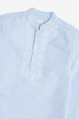 Blue Regular Length Embroidered Kurta (3-16yrs)
