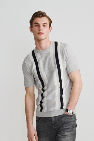 Grey/White Premium Stripe T-Shirt