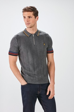 Grey Textured Tipped Premium Zip Polo