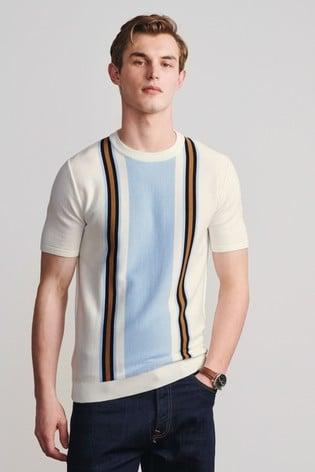 Ecru/Brown Premium Stripe T-Shirt