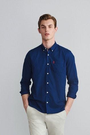 Navy Blue Slim Fit Roll Sleeve Lightweight Twill Shirt