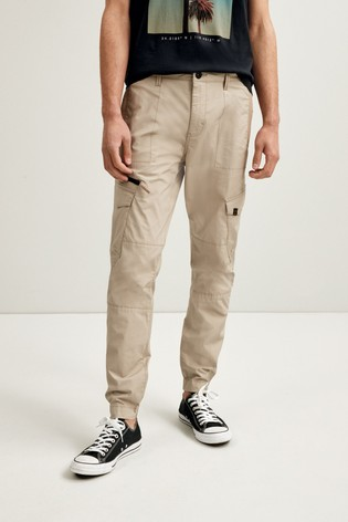 Stone Slim Fit Elasticated Tech Cargo Trousers