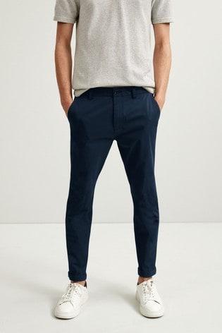 Navy Slim Fit Elasticated Waist Comfort Chinos