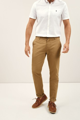 Rich Tan Straight Fit Stretch Chinos