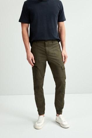 Khaki Slim Fit Elasticated Cargo Trousers