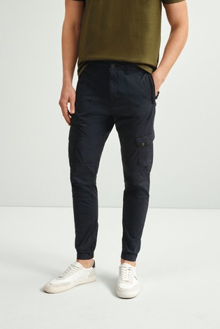 Navy Slim Fit Elasticated Tech Cargo Trousers