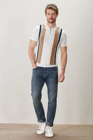 Ecru Vertical Stripe Knitted Polo