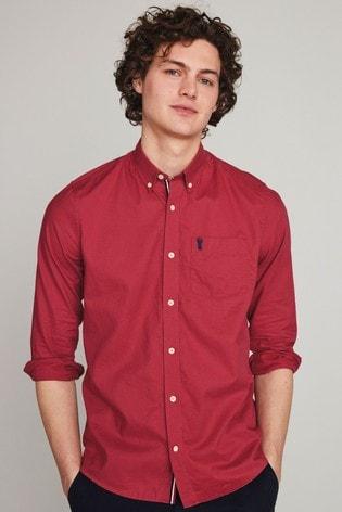 Raspberry Pink Slim Fit Roll Sleeve Lightweight Twill Shirt
