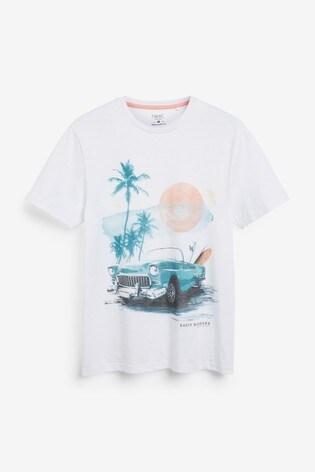 White Car Graphic T-Shirt