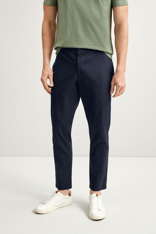 Navy Slim Fit Stretch Chinos With Motion Flex Waistband