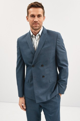 Blue Double Breasted Slim Fit Check Suit: Jacket