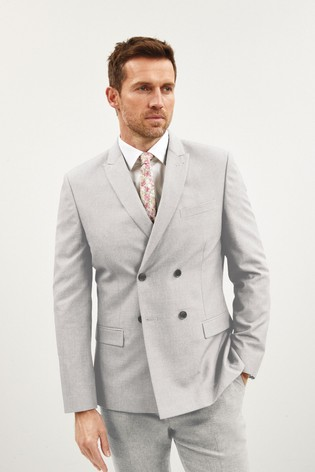 Light Grey Double Breasted Slim Fit Check Suit: Jacket