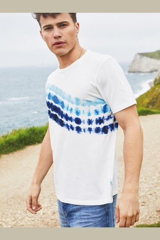 White Tie Dye Print Mr Blue Sky Organic Cotton Graphic T-Shirt