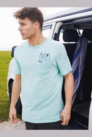 Mint Surfboard Pocket Mr Blue Sky Organic Cotton Graphic T-Shirt