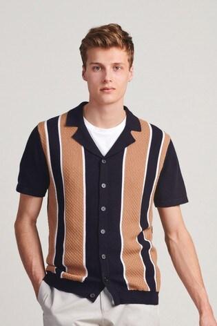 Navy/Ochre Premium Button Through Polo Shirt