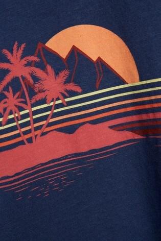 Dark Blue Scene Print Mr Blue Sky Organic Cotton Graphic T-Shirt
