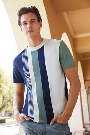 Ecru/Navy Pattern T-Shirt