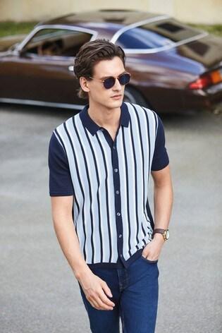 Blue/Navy Stripe Premium Button Through Polo Shirt