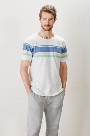 White/Blue Block Mr Blue Sky Organic Cotton Stripe T-Shirt