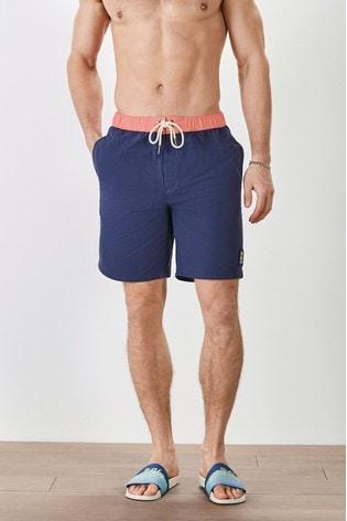 Blue Contrast Waistband Mr Blue Sky Organic Cotton Blend Board Shorts