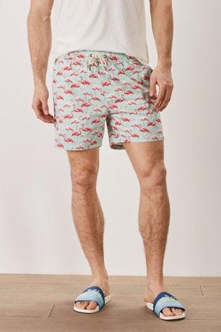 Mint Flamingo Mr Blue Sky Organic Cotton Blend Swim Shorts