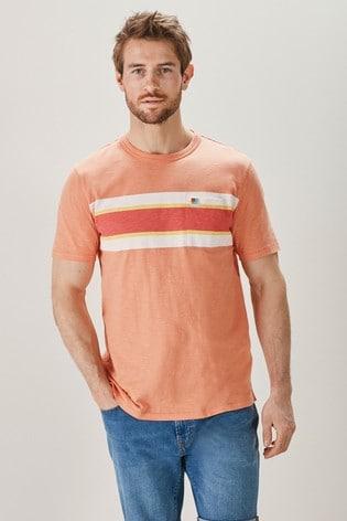 Peach Block Mr Blue Sky Organic Cotton Stripe T-Shirt