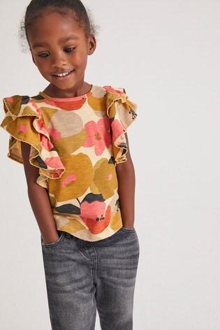 Orange Floral Frill Sleeve Vest (3mths-7yrs)