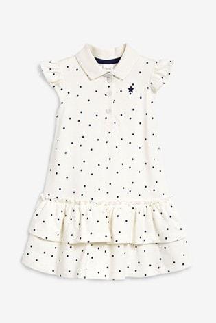 Ecru/Navy Spot Polo Dress (3mths-7yrs)