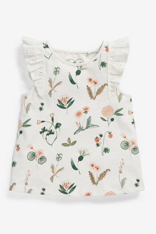 Ecru Floral Frill Vest (3mths-8yrs)
