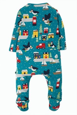 Frugi Organic Cotton Sleepsuit With Turn Back Scratch Mitts - Puffin Post