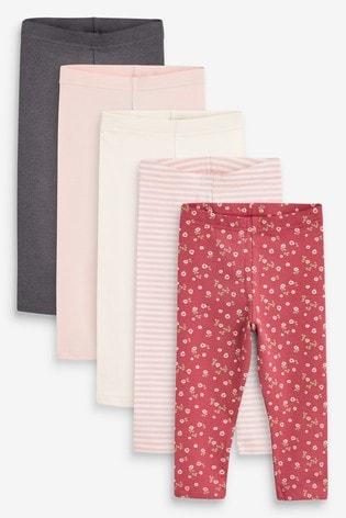 Pink Ditsy 5 Pack Leggings (3mths-7yrs)