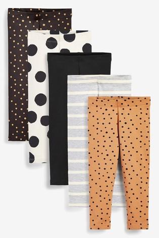 Monochrome Spots 5 Pack Leggings (3mths-7yrs)