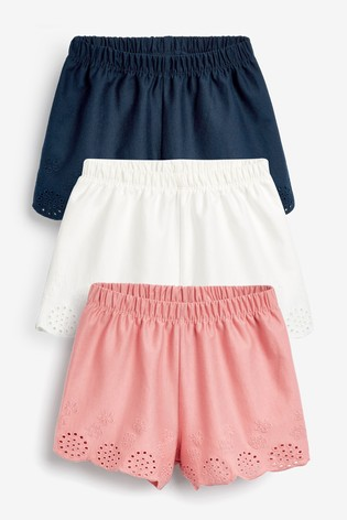 Multi 3 Pack Jersey Broderie Shorts (3mths-8yrs)