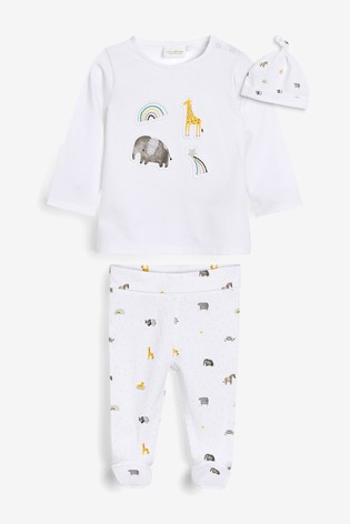 White Organic Cotton 3 Piece Leggings, T-Shirt And Hat Set (0-9mths)