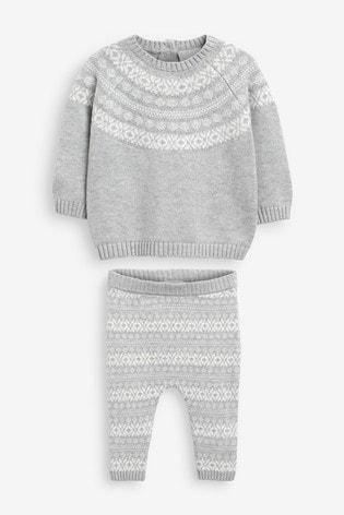Grey/White Fairisle Pattern Set (0mths-2yrs)