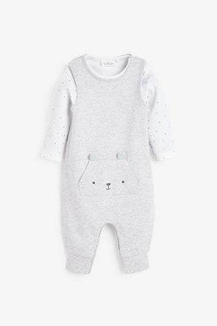 Grey Organic Cotton Dungarees/Bodysuit Set (0mths-2yrs)