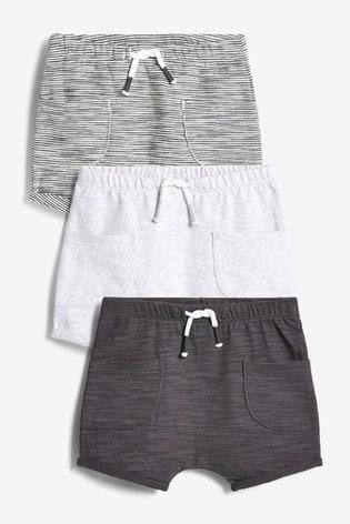 Monochrome 3 Pack Shorts (0mths-2yrs)