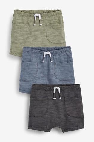 Multi Neutral 3 Pack Shorts (0mths-2yrs)