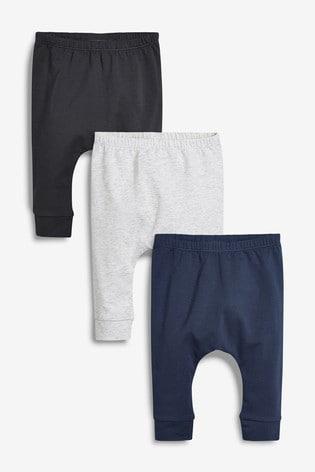Grey/Navy 3 Pack Leggings (0mths-3yrs)