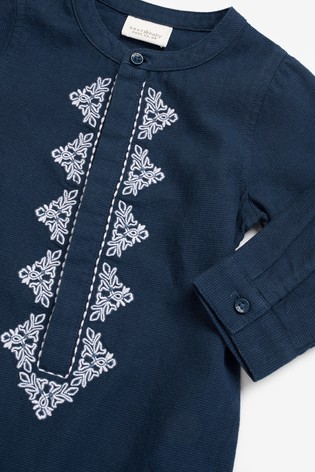 Navy Embroidered Romper (0mths-2yrs)