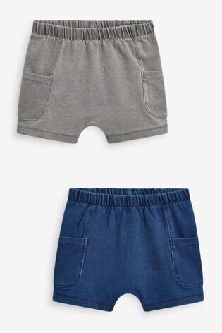 Blue/Grey 2 Pack Woven Shorts (0mths-2yrs)