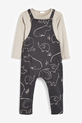 Charcoal Elephant Dinosaur Jersey Dungarees And Bodysuit Set (0mths-3yrs)