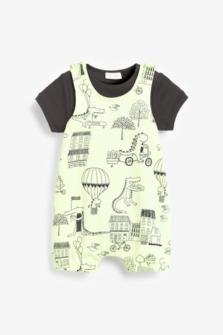 Monochrome 2 Pack Organic Cotton Dino Dungarees And Bodysuits Set (0mths-3yrs)