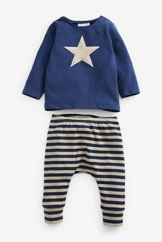 Navy Blue T-Shirt And Leggings Slogan Set (0mths-3yrs)