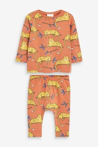Rust Dinosaur T-Shirt And Legging Two Piece Set (0mths-3yrs)