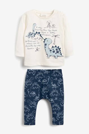 Blue Dinosaur T-Shirt And Legging Two Piece Set (0mths-3yrs)